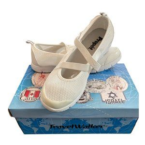 Propet Travel Walker White Mary Jane Shoes